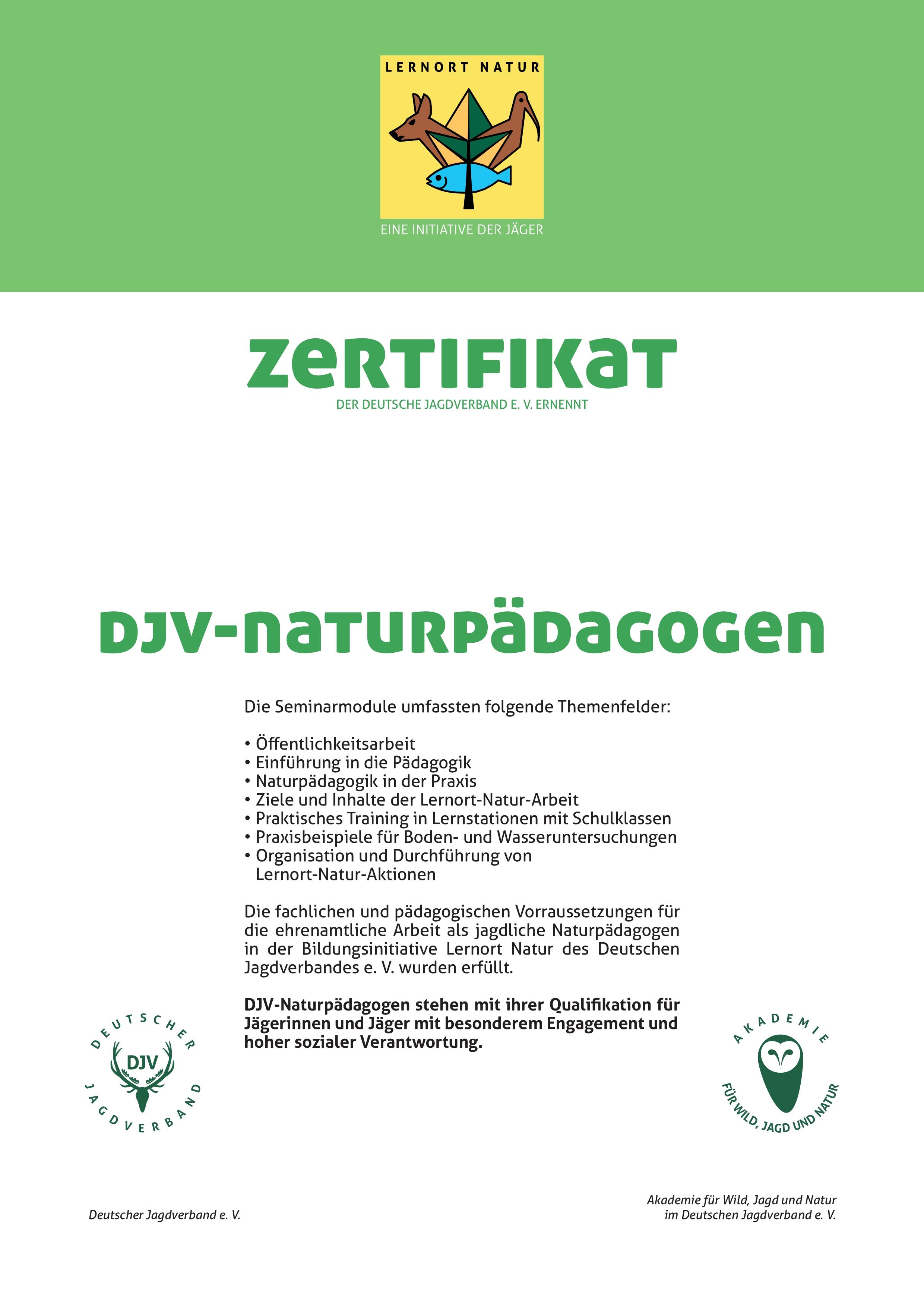 Zertifikat DJV Naturpädagoge
