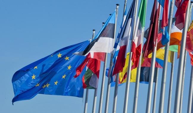 Flaggen vor dem Europäischen Parlament in Brüssel.