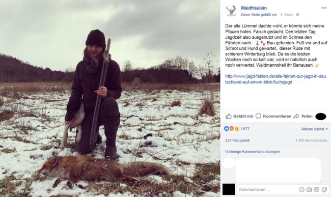 """Screenshot des Facebookpost vom """"Waidfräulein"""""""