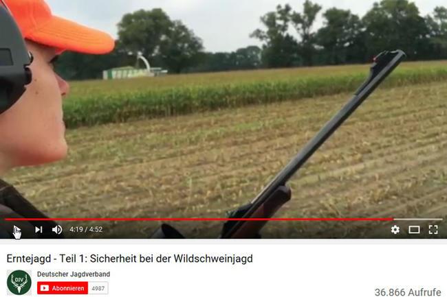 Der DJV zeigt in einem YouTube-Video, welche Sicherheitsvorkehrungen bei Erntejagden zu beachten sind.
