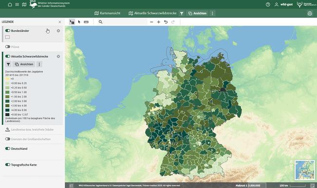 Im WILD-Portal können jetzt auch interaktive Karten zur Streckenstatistik, beispielsweise zum Schwarzwild, angesehen und individuell nach Regionen gefiltert werden.