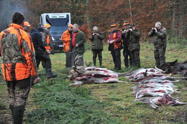 Jagdgemeinschaft am Streckenplatz