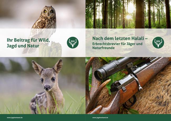 """Die Informationsmappe """"Erbschaften"""" enthält die Broschüre """"Ihr Beitrag für Wild, Jagd und Natur"""" und den Erbrechtsleitfaden """"Nach dem letzten Halali""""."""