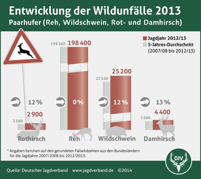 Entwicklung der Wildunfälle 2013 (Paarhufer)