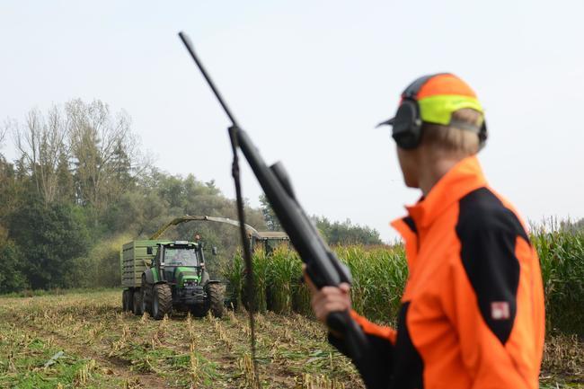 Warnkleidung und erhöhte Position sorgen für Sicherheit bei der Erntejagd.