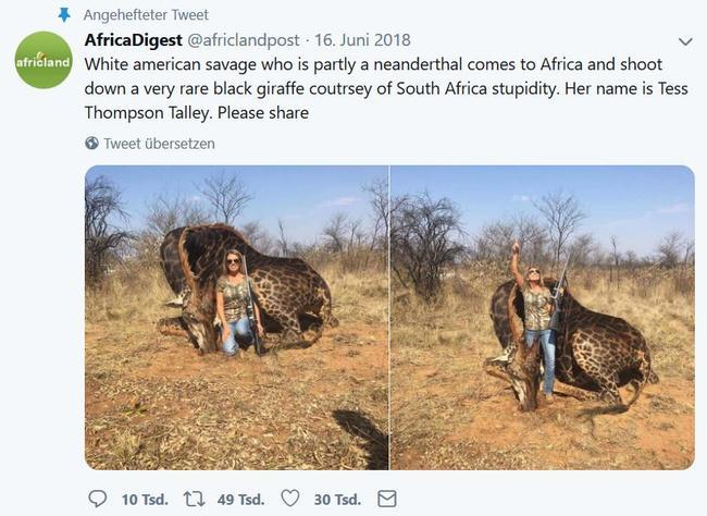 Aktuell entbrennt in den sozialen Medien eine heftige Diskussion um das Bild der bekannten US-Jägerin Tess Talley.