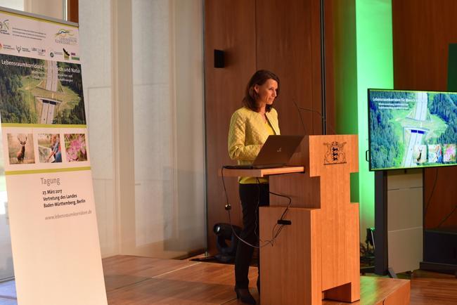 """Rita Schwarzelühr-Sutter, parlamenatrische Staatssekretärin im BMUB: """"Mit Blick auf das Artensterben können wir es uns nicht leisten, noch mehr Landschaft unüberwindbar zu zerschneiden."""""""
