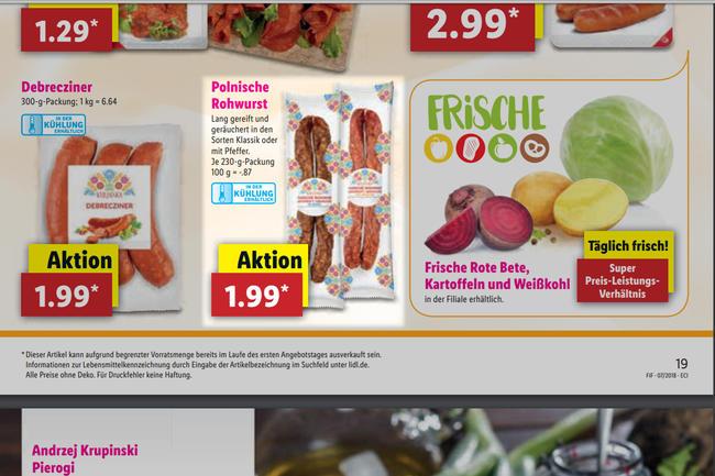 Das aktuelle Lidl-Prospekt, in dem polnische Rohwurst angeboten wird.