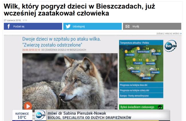 Das polnische Nachrichtenportal TV24 berichtete am Mittwoch über den Vorfall