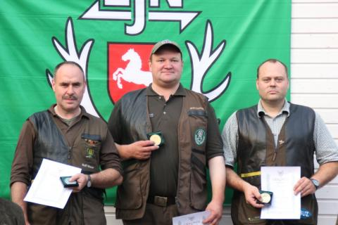 Bundesmeisterschaft jagdliches Schießen Jakob Eveslage, Rolf Moser und Günther Sittkus (Quelle: DJV)