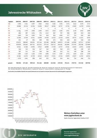 Wildtaube: Jagdstatistik 2005-2016