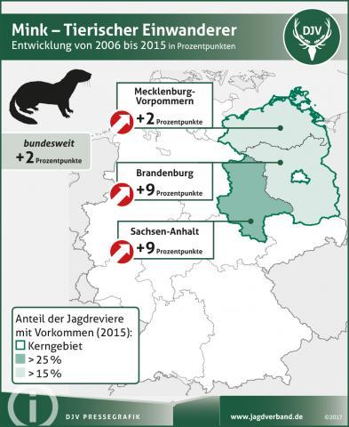 Mink: Verbreitung 2006-2015