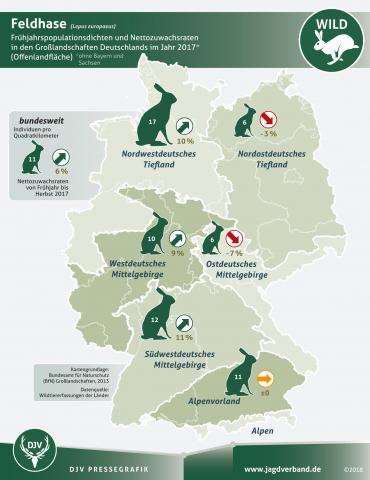 Feldhasenzählung: Frühjahrspopulationsdichten und Nettozuwachsraten 2017