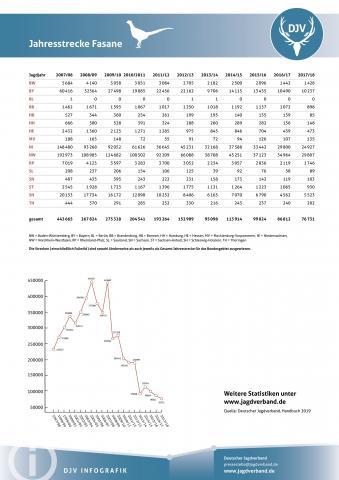 Fasan: Jagdstatistik 2007-2018