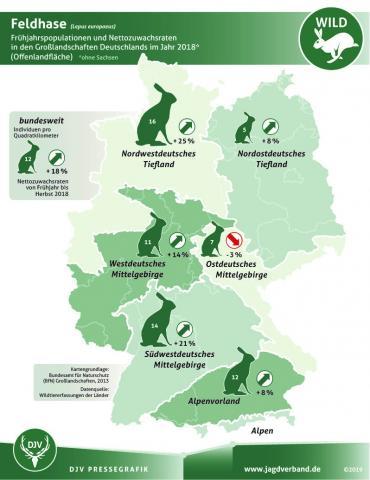 Feldhase: Frühjahrspopulationen und Nettozuwachsraten in den Großlandschaften Deutschlands im Jahr 2018*