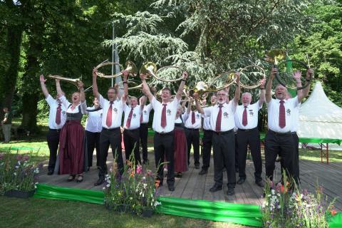 Bundessieger Klasse Es: Bläsergruppe des Kreisjagdvereins Groß-Gerau (Hessen)