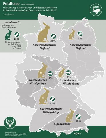 Feldhasenzählung 2014 - Großlandschaften (Quelle: djv)