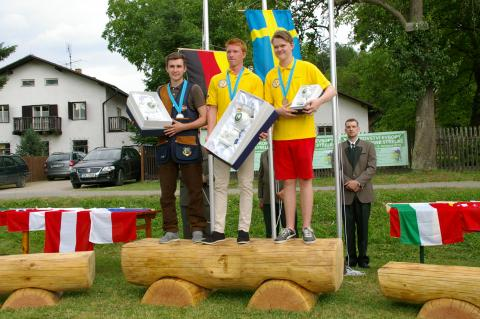 Hannes Mester EM-Junioren Zweitplatzierter bei der Siegerehrung