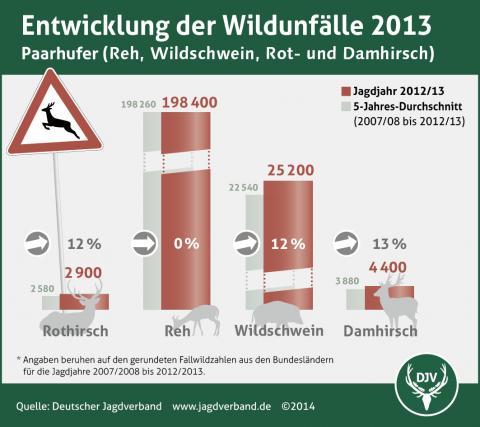 Entwicklung der Wildunfälle 2013