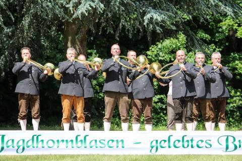 Drittplatziert in der Klasse Es: Bläsergruppe Mildetal-Gardelegen aus Sachsen-Anhalt beim Bundeswettbewerb Jagdhornblasen 2017 (Quelle: DJV)