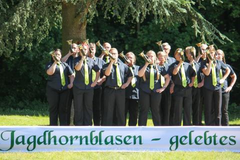 Drittplaziert in der Klasse A: Kreisjagdverein Gelnhausen aus Hessen beim Bundeswettbewerb Jagdhornblasen 2017 (Quelle: DJV)