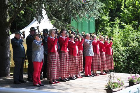 Bläsergruppe am Bundeswettbewerb Jagdhornblasen