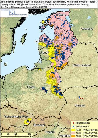 Ausbreitung der afrikanischen Schweinepest in der EU 2017 (Quelle: FLI)
