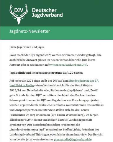 DJV-Newsletter über Verbandsbericht 2013