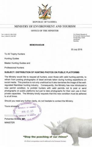 Mitteilung des Namibischen Umweltministers: Erlegerbilder in sozialen Netzwerken verboten