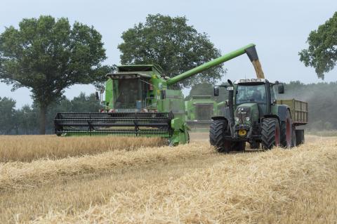Drescher und Traktor bei der Getreideernte