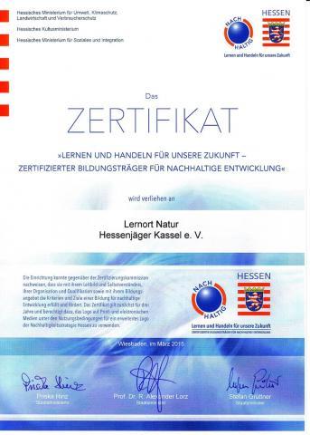 Zertifikat Hessenjäger