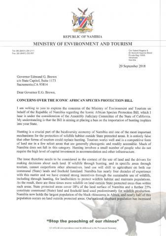 In einem Brief wendet sich die Namibische Staatsregierung gegen das von Kalifornien geplante Importverbot bestimmter Trophäen