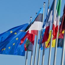 Flaggen vor dem EU-Parlament in Straßburg