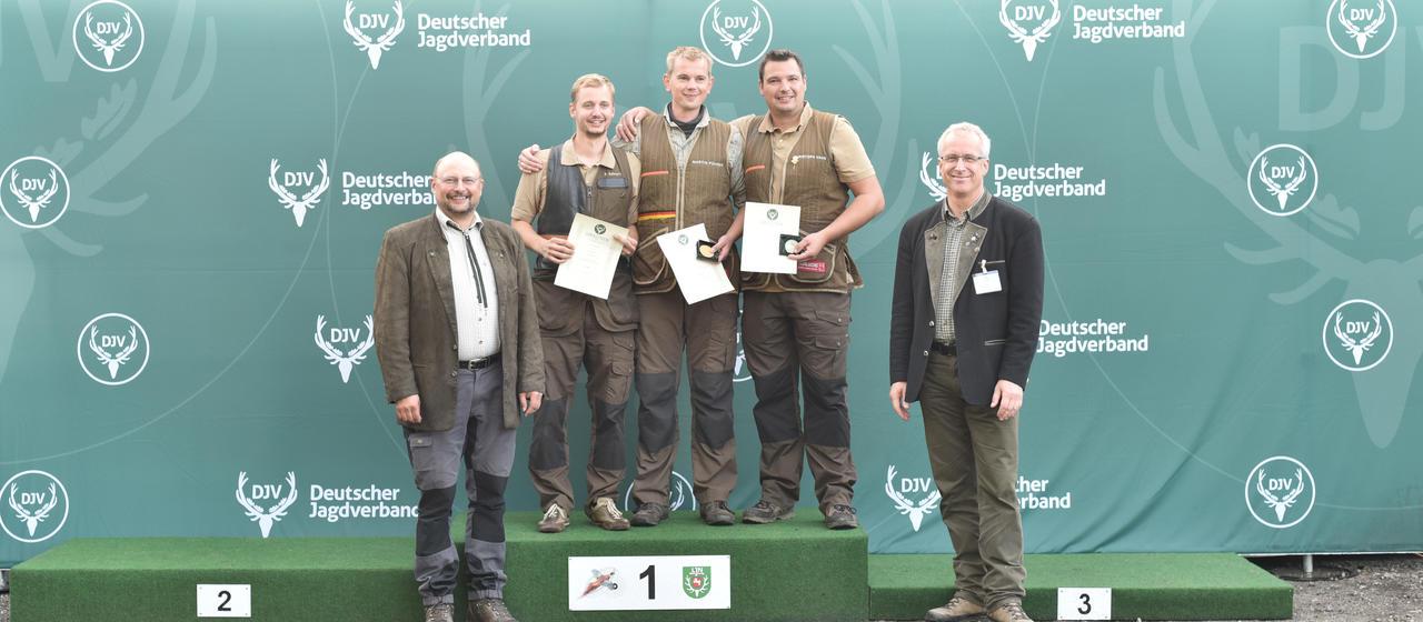 Sieger, Flinte, Offene Klasse: 1) Martin Führer (Rheinland-Pfalz), 2) Philipp Sehnert (Rheinland-Pfalz), 3) Christoph Hahn (Rheinland-Pfalz) (Quelle: Kapuhs/DJV)