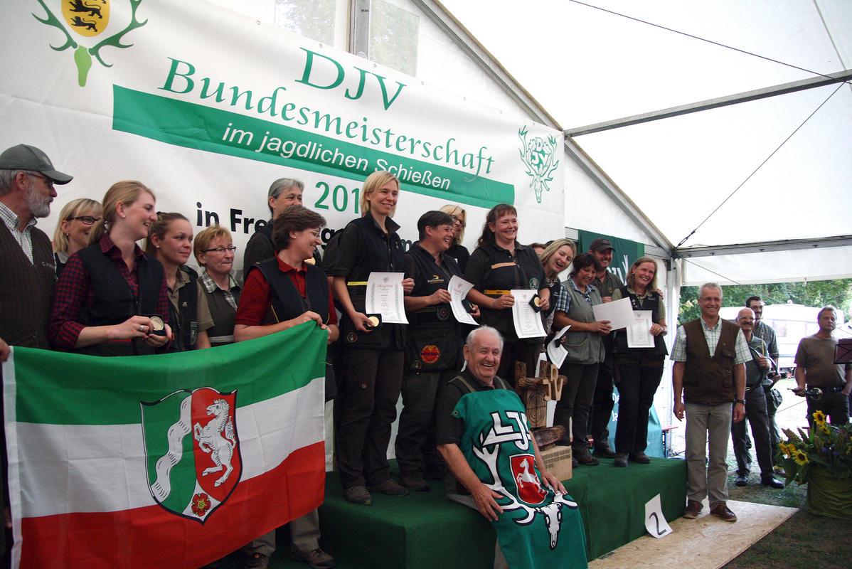 Siegerinnen Mannschaftswertung (1. Niedersachsen, 2. Hessen, 3. Nordrhein-Westfalen) (Quelle: Hunger/DJV)
