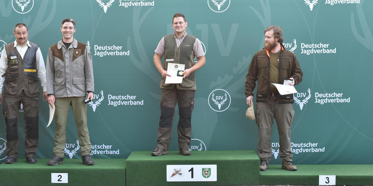 Sieger, Kurzwaffe: 1) Axel Merten (Nordrhein-Westfalen), 2) Armin Reinacher (Baden-Württemberg), 3) Julian Keimer (Baden-Württemberg) (Quelle: Kapuhs/DJV)